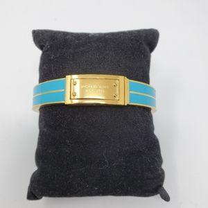 Michael Kors Blue Gold Turquoise Logo Plaque